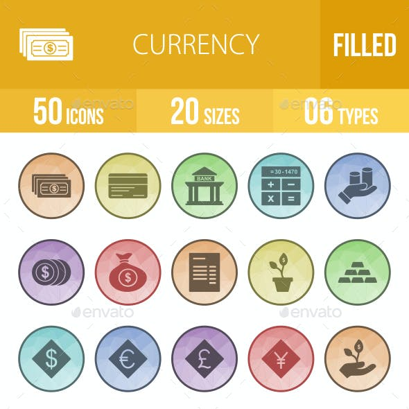 Currency Filled Low Poly B/G Icons