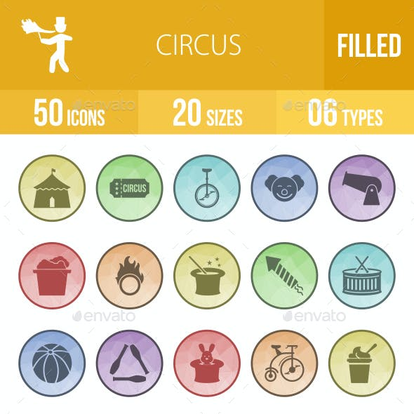 Circus Filled Low Poly B/G Icons