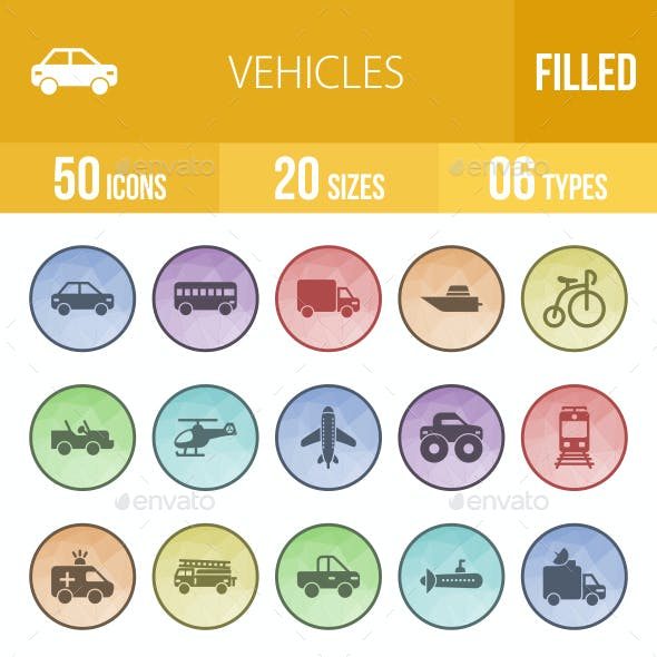 Vehicles Filled Low Poly B/G Icons