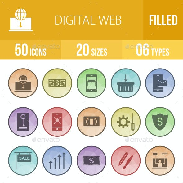 50 Digital Web Filled Low Poly Icons