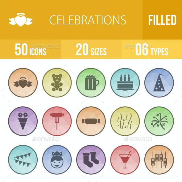 Celebrations Filled Low Poly B/G Icons