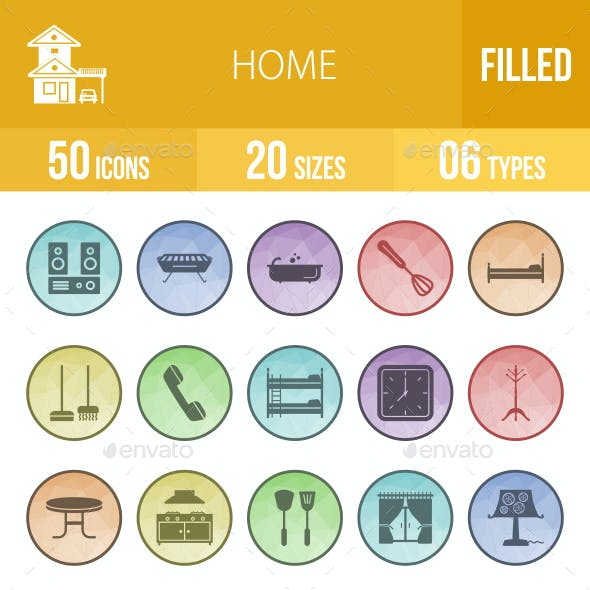 50 Home Filled Low Poly Icons