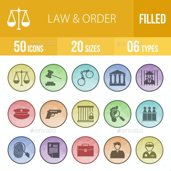 Law & Order Filled Low Poly B/G  Icons