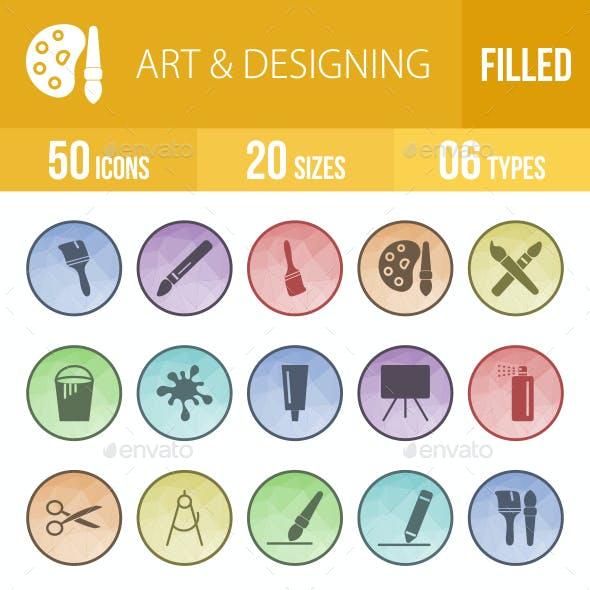 Art & Designing Filled Low Poly B/G Icons