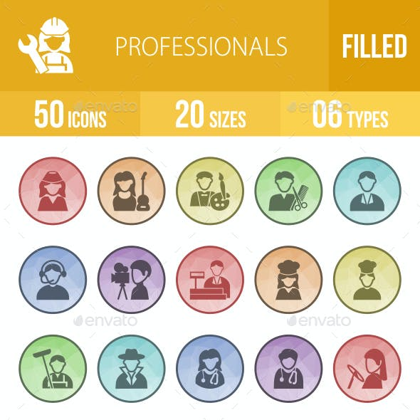Professionals  Filled Low Poly B/G Icons