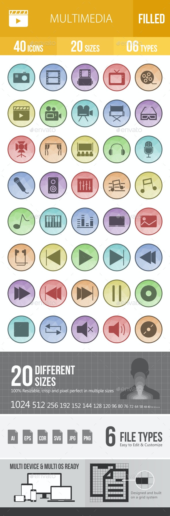 Multimedia  Filled Low Poly B/G Icons - Icons