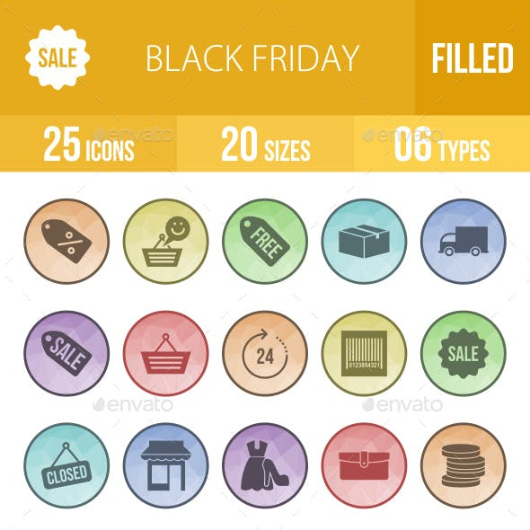 Black Friday  Filled Low Poly B/G Icons