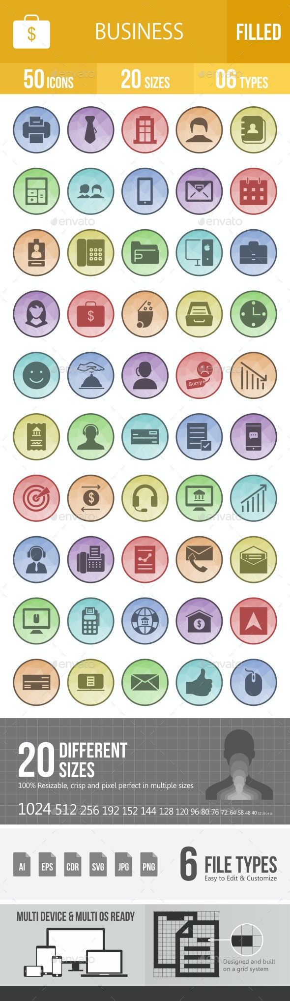 Business Filled Low Poly B/G Icons - Icons