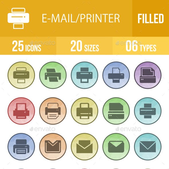 Email & Printer - Technology Filled Low Poly B/G Icons
