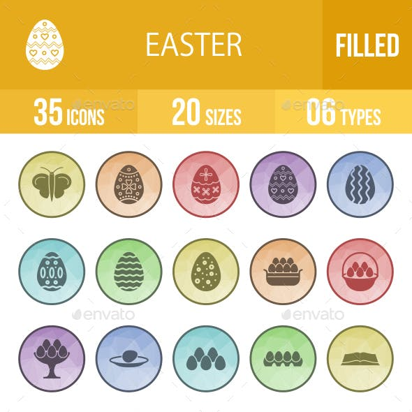 Easter Filled Low Poly B/G Icons