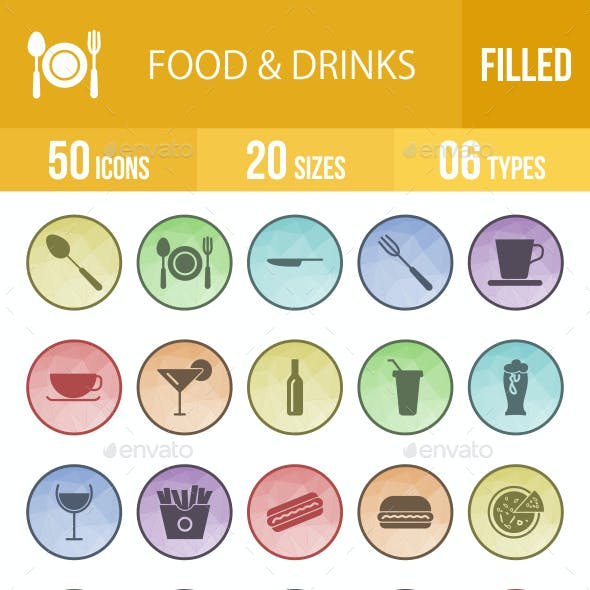 Food & Drinks Filled Low Poly B/G Icons