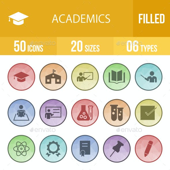 Academics Filled Low Poly B/G Icons