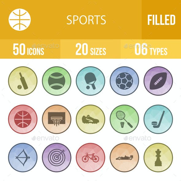 Sports Filled Low Poly B/G Icons