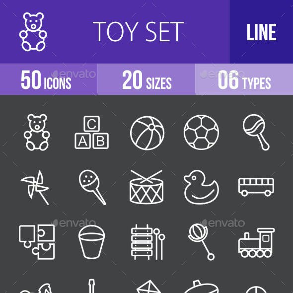 Toys Line Inverted Icons