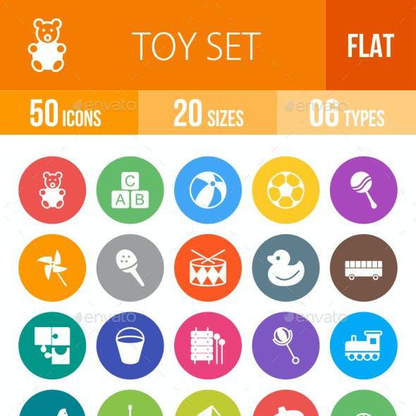 Toys Flat Round Icons