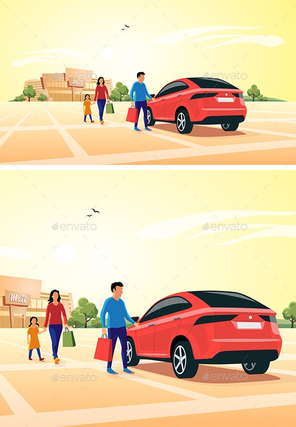Family Shopping at Mall Approaching Car - Retail Commercial / Shopping
