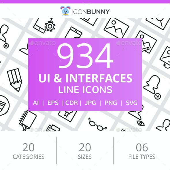 934 UI & Interfaces Line Icons