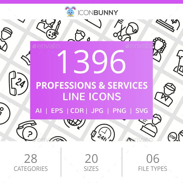 1396 Professions & Services Line Icons
