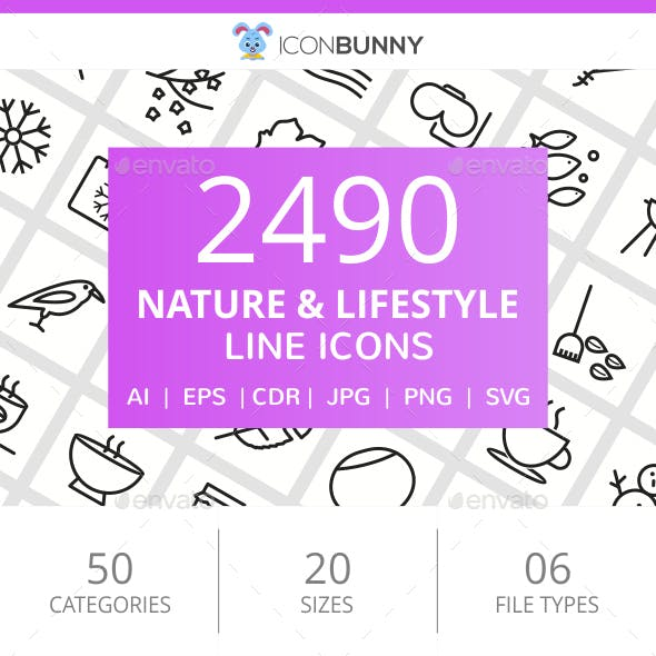 2490 Nature & Lifestyle Line Icons