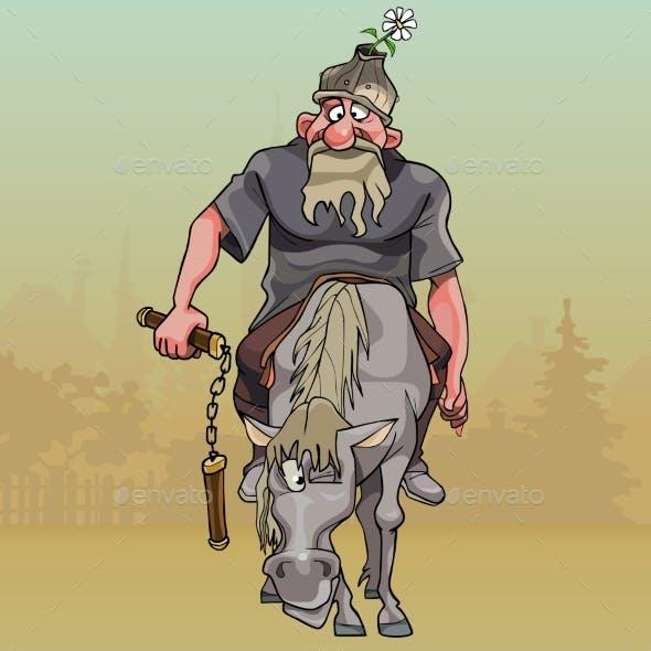 Cartoon Warrior on Horseback with Nunchuck