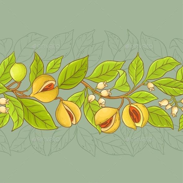 Nutmeg Vector Pattern - Food Objects