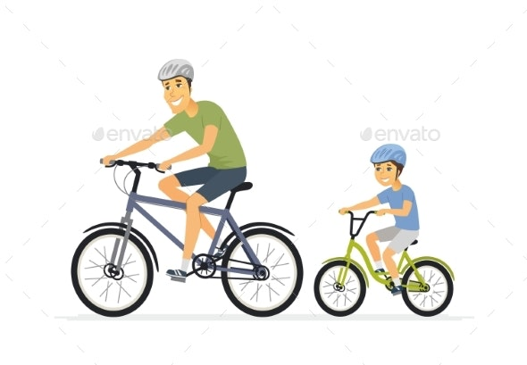 Father and Son Cycling - Cartoon People Characters - Sports/Activity Conceptual