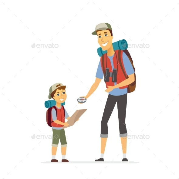 Father and Son Go Camping - Cartoon People - People Characters