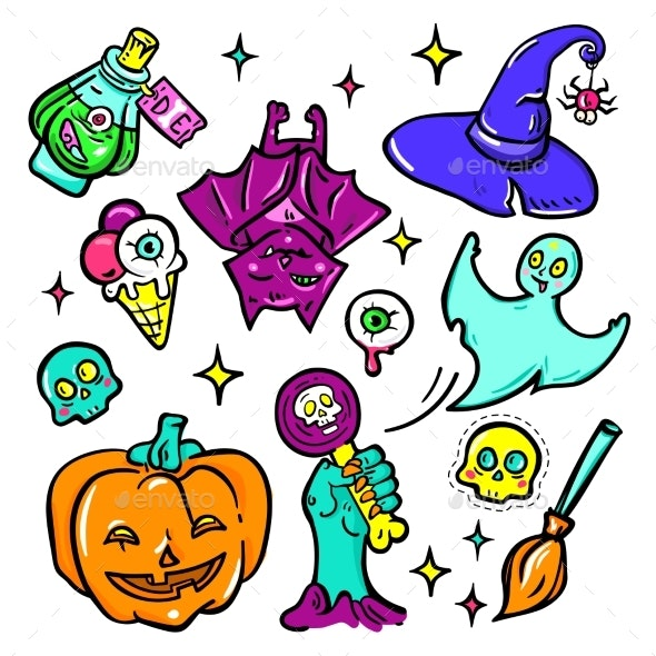 Halloween Symbols - Vector Isolated Stickers Set - Halloween Seasons/Holidays