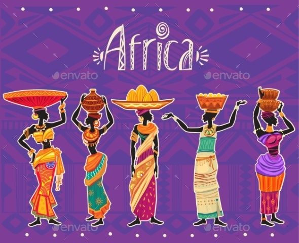 Set of African Woman in Ethnic Dress - People Characters