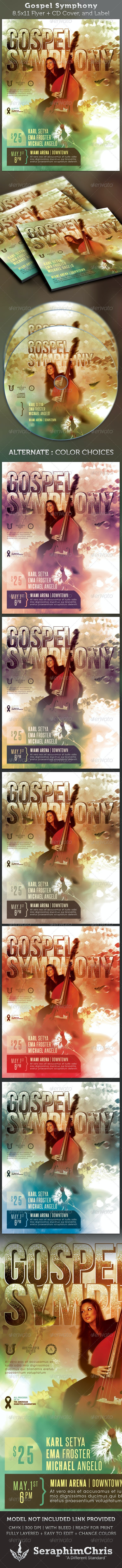 Gospel Symphony Full Page Flyer and CD Cover - Church Flyers
