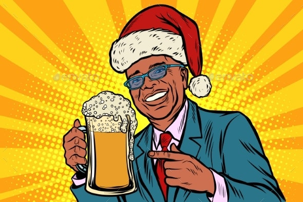 Christmas and New Year Man with a Mug of Beer - Food Objects