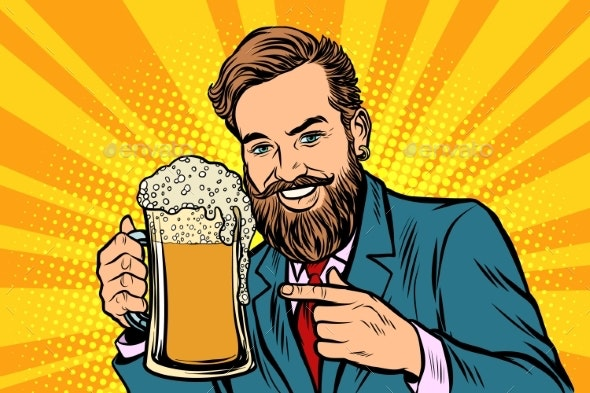 Smiling Man with a Mug of Beer Foam - Food Objects