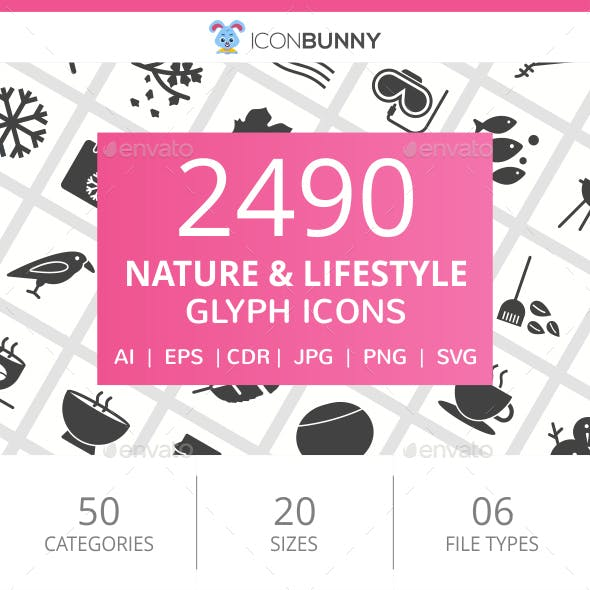 2490 Nature & Lifestyle Glyph Icons