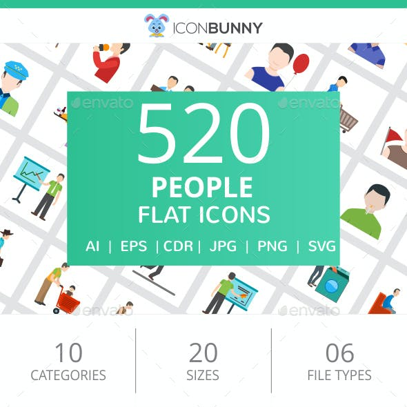 520 People Flat Icons