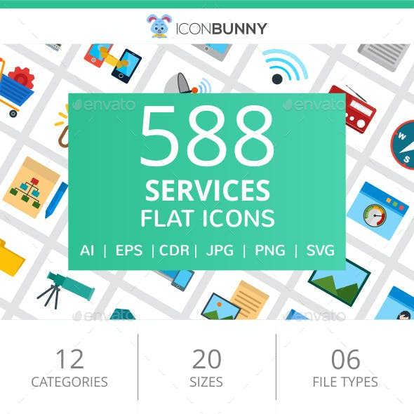 588 Services Flat Icons