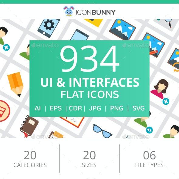 934 UI & Interfaces Flat Icons
