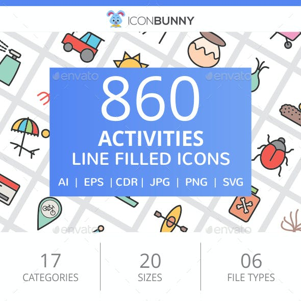 860 Activities Filled Line Icons
