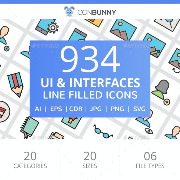 934 UI & Interfaces Filled Line Icons
