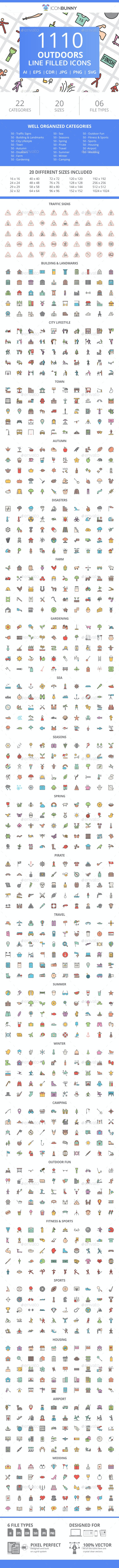 1110 Outdoors FIlled Line Icons - Icons
