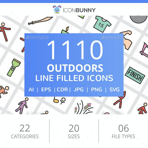 1110 Outdoors FIlled Line Icons