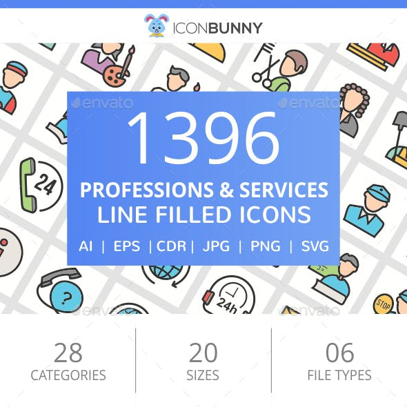 1396 Professions & Services Filled Line Icons