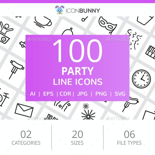 100 Party Line Icons