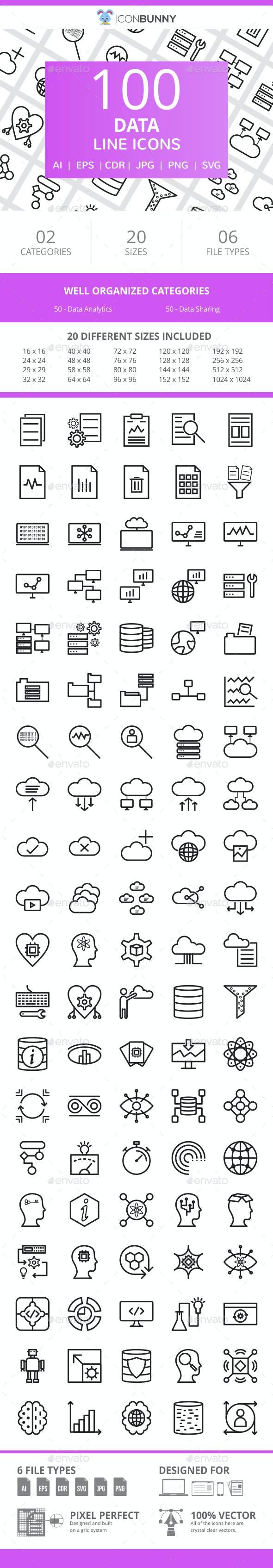 100 Data Line Icons