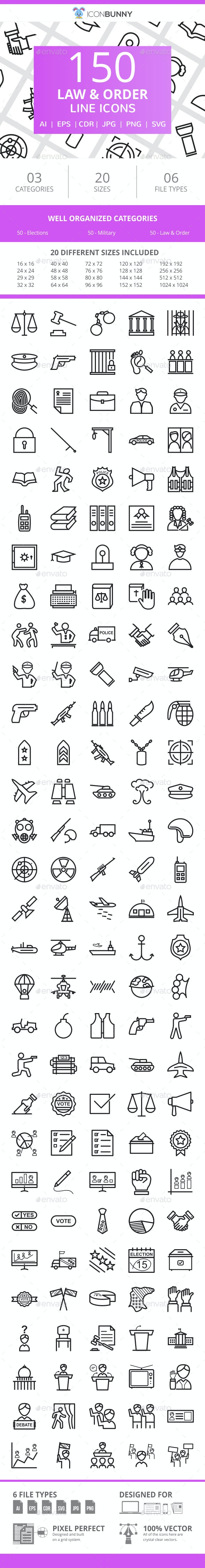 150 Law & Order Line Icons - Icons