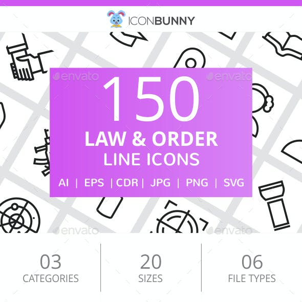 150 Law & Order Line Icons