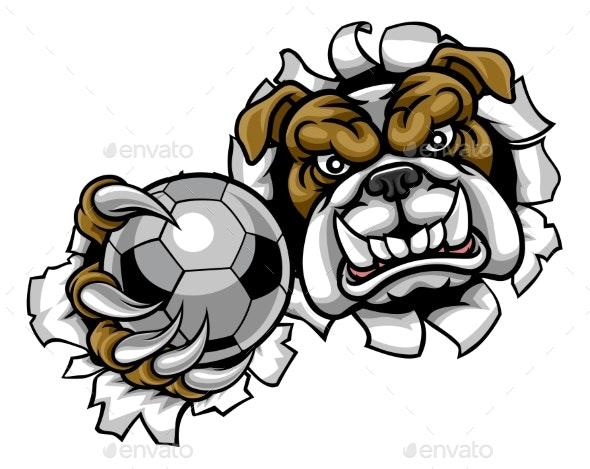 Bulldog Soccer Football Mascot - Sports/Activity Conceptual