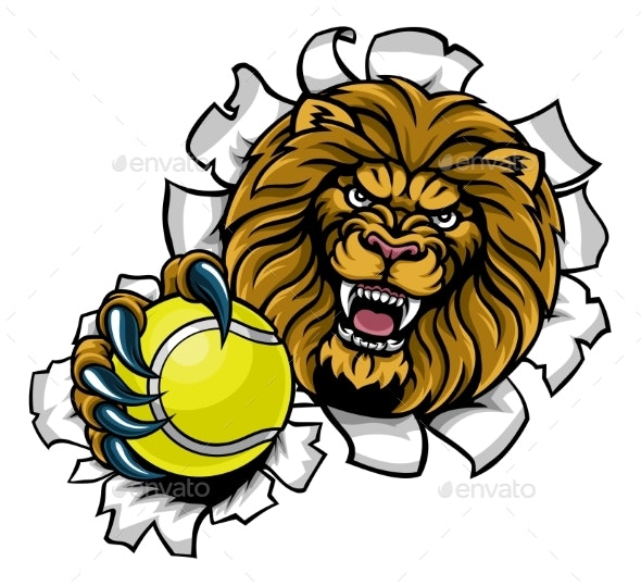 Lion Holding Tennis Ball Breaking Background - Sports/Activity Conceptual