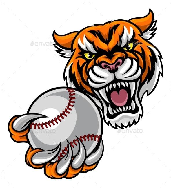 Tiger Holding Baseball Ball Mascot - Sports/Activity Conceptual