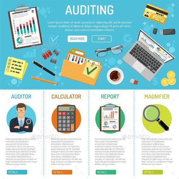 Auditing and Business Accounting Infographics - Services Commercial / Shopping