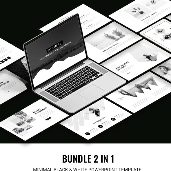 2 in 1 Black & White Powerpoint Template Bundle